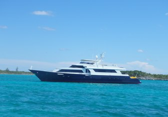 Island Time charter yacht exterior designed by Broward