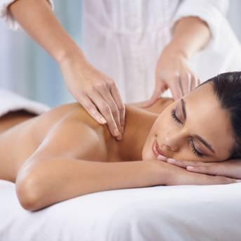 Woman receives a massage
