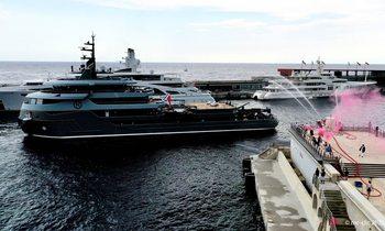 M/Y RAGNAR receives prestigious fire brigade salute at Monaco Yacht Club