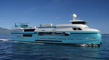 48m support vessel MY BRO for legendary 73m charter yacht AXIOMA under construction
