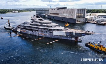 Project Jag: latest photos of 122m Lurssen mega yacht as she hits the water for her technical launch