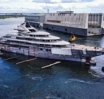 Project Jag: latest photos of 125m Lurssen mega yacht as she hits the water for her technical launch