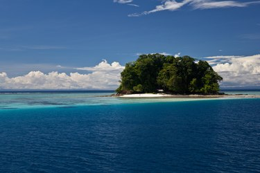 Isolated coral island in Solomon Islands