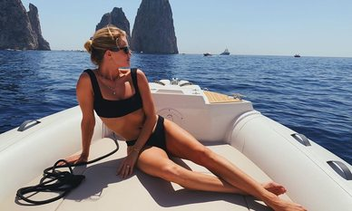 Rosie Huntington Whiteley on a yacht in the Amalfi Coast