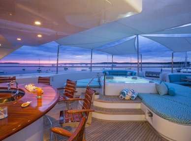 Sundeck of superyacht RHINO