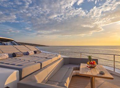 Sunpads on luxury charter yacht Aqua Libra