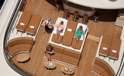 Charter Guests On Board Superyacht Martha Ann Enjoy Sundeck Refreshments
