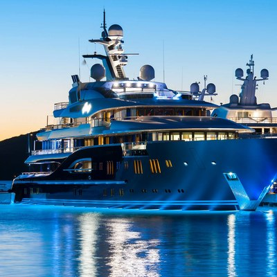 Solandge Yacht Berthed At Night