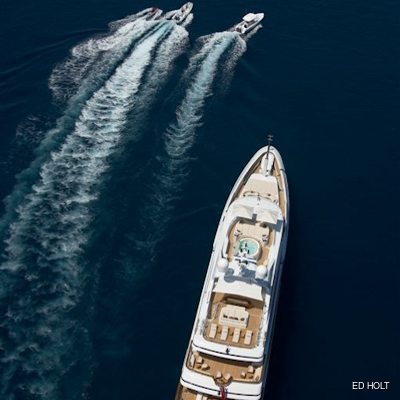 Andreas L Yacht Aerial View with Tenders