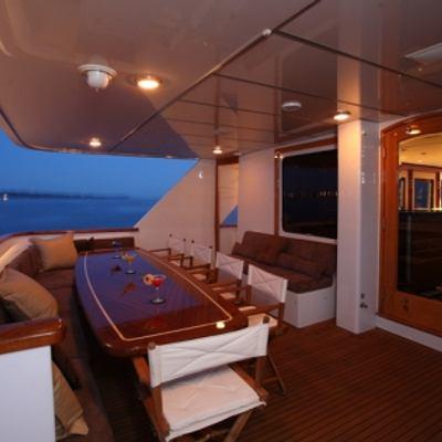 Daydream Yacht Aft Deck Dining - Night