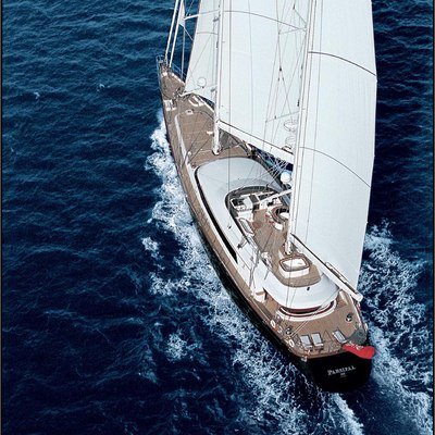 Parsifal III Yacht Aerial View - Sails