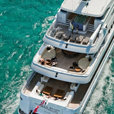 Sovereign Yacht Aerial - Stern Decks