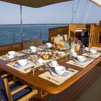 Windrose of Amsterdam Aft Deck Dining