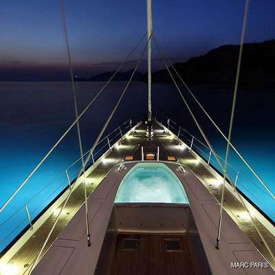 Prana Yacht Fore deck by night
