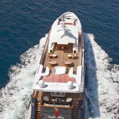 Sophie Blue Yacht Running Shot - Overhead