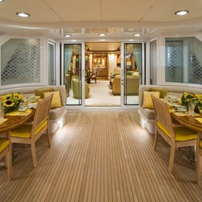Sojourn Yacht Aft Deck and Salon