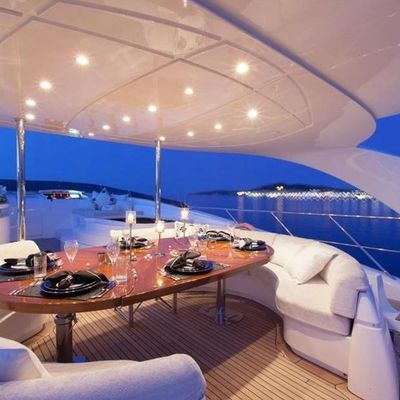 Whispering Angel Yacht Sundeck dining