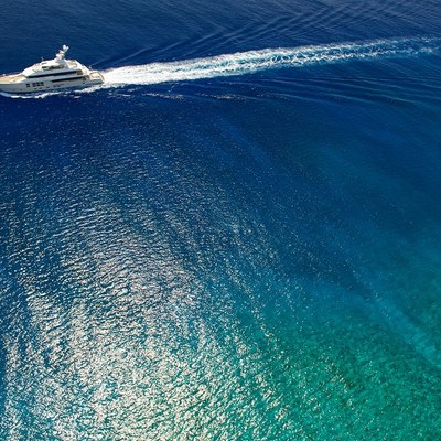 Big Fish Yacht Running Shot - Aerial View