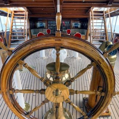 SS Delphine Yacht Ship's Wheel