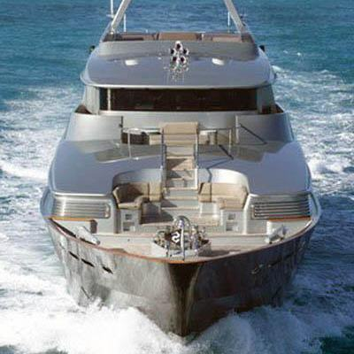 Silver Dream Yacht Running Shot - Bow