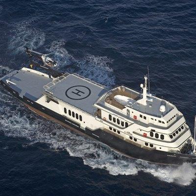 Global Yacht Running Shot - Helicopter Landing