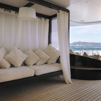 My Little Violet Yacht Covered Seating Area