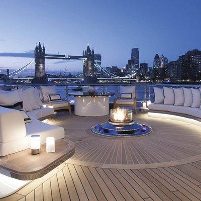 Kismet Yacht open fire pit main deck