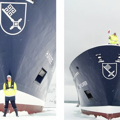 Hanse Explorer Yacht Bow in Ice