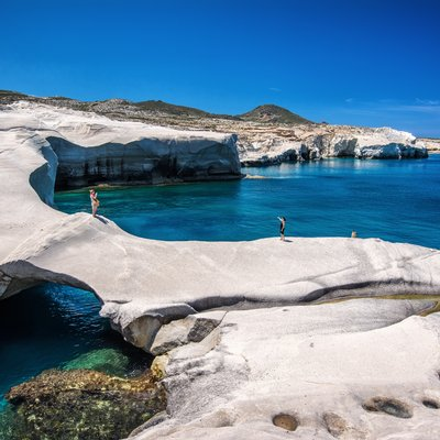 Decompress in the glistening waters of Milos