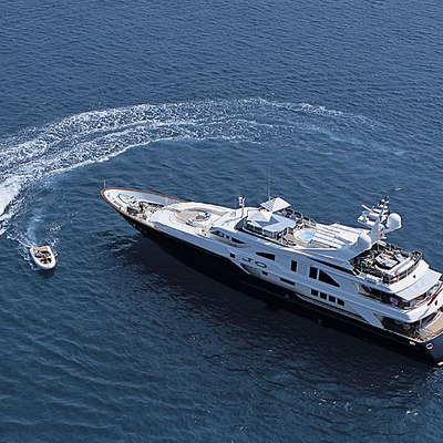 Jo Yacht Aerial View with Tenders