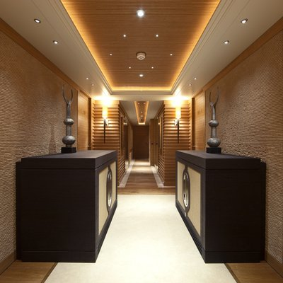 Naia Yacht View Down Corridor