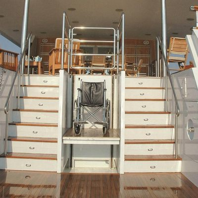Bella Stella Yacht Stairs to Swim Platform