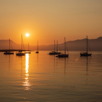 Sunset over the water on Kastos, Greece