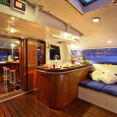 Douce France Yacht Cockpit by evening