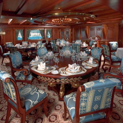 SS Delphine Yacht Dining Salon