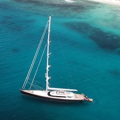 Red Dragon Yacht At Anchor - Aerial View