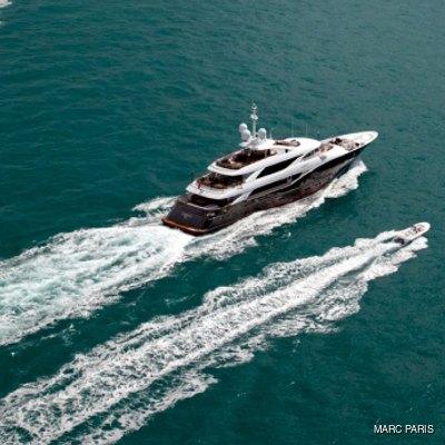 Liberty Yacht Running Shot - Aerial