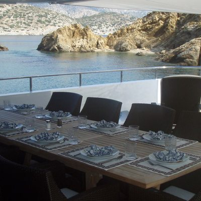 Milk and Honey Yacht Exterior Dining Table