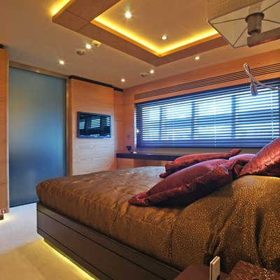 Tatiana I Yacht Brown Guest Stateroom - Bed