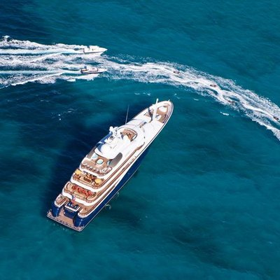 Aquila Yacht Aerial Overview with Tenders