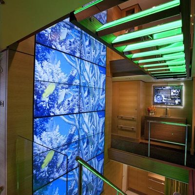 Big Fish Yacht Main Deck Video Wall Stairs