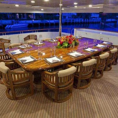 Wheels Yacht Main Aft Deck Dining