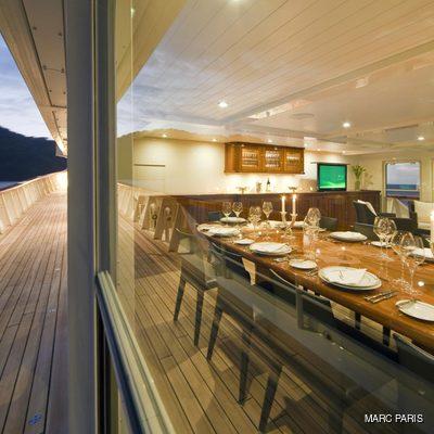 Seawolf Yacht Upper Deck Dining Indoor or Outdoor