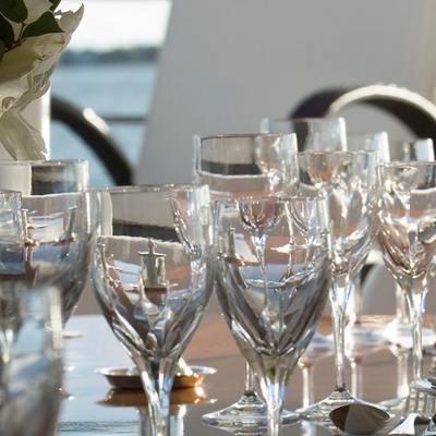 Elegant 007 Yacht Detail - Glasses/Flowers