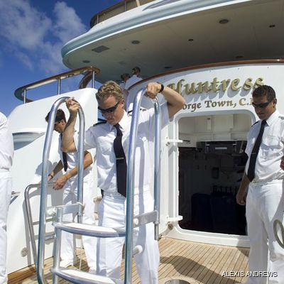 Sea Huntress Yacht Crew on Swim Platform