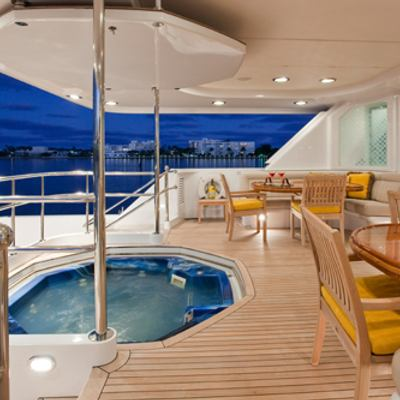 Sojourn Yacht Aft Deck Alfresco Dining and Jacuzzi