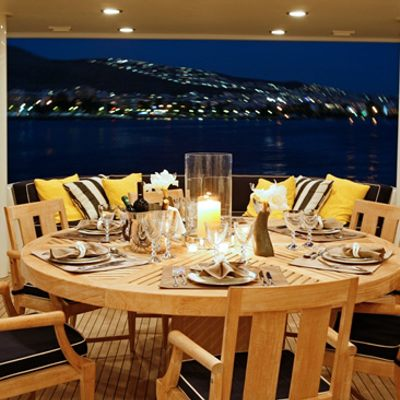 Endless Summer Yacht Main Deck Dining - Night