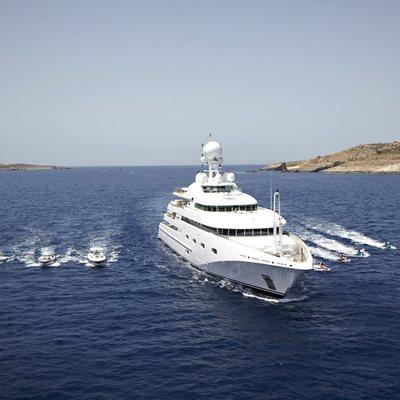 Pegasus VIII Yacht Running Shot with Tenders