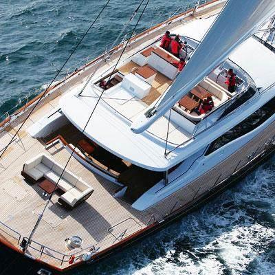 Prana Yacht Aerial View - Aft Deck