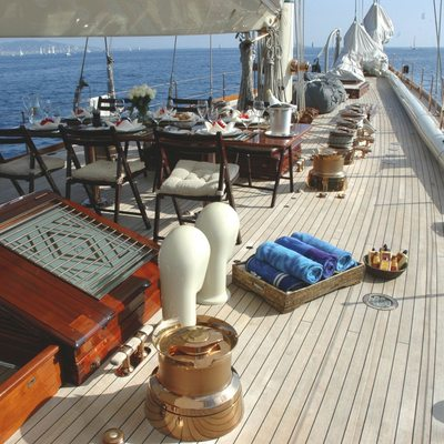 Shamrock V Yacht Side Deck